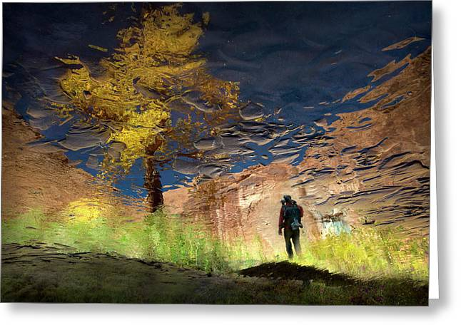 Man In Nature - Into The Canyon Greeting Card