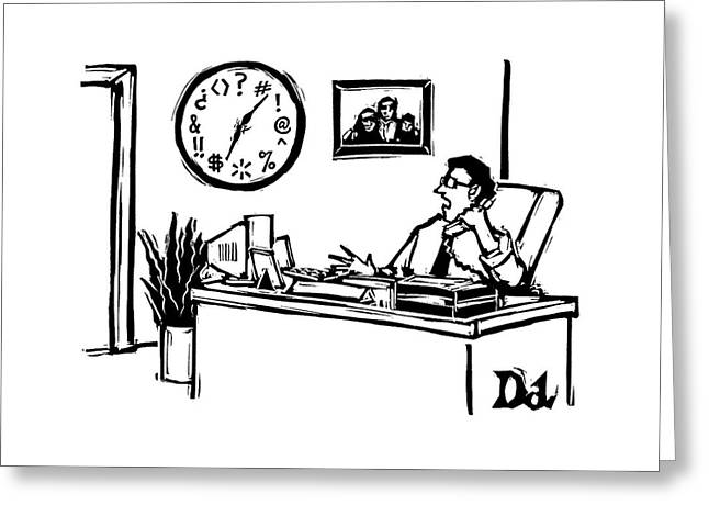Man In Office Looking At A Clock And The Numbers Greeting Card