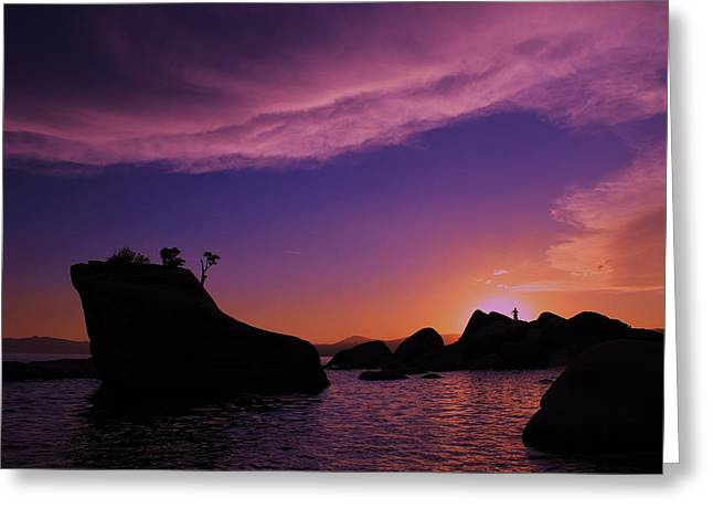 Man In Sun At Bonsai Rock Greeting Card by Sean Sarsfield