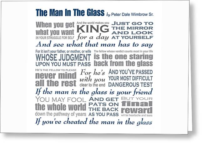 Man In The Glass Poem Greeting Card by Ginny Gaura
