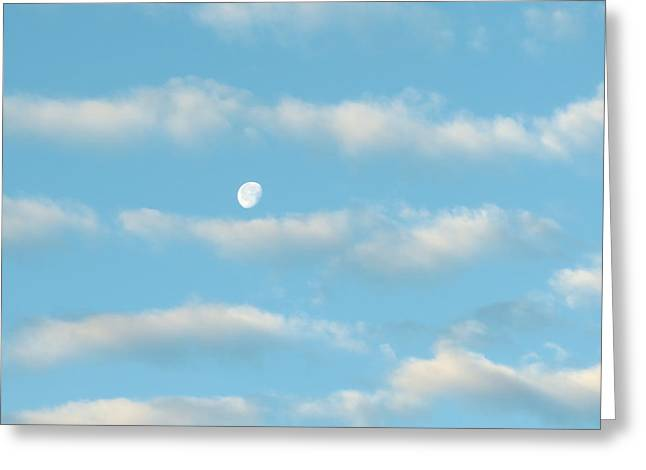 Greeting Card featuring the photograph Man In The Moon In The Clouds by Fortunate Findings Shirley Dickerson