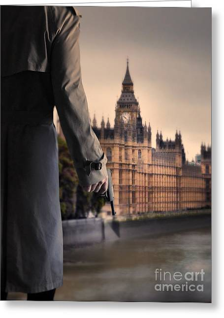 Man In Trenchcoat With A Gun In London Greeting Card by Jill Battaglia