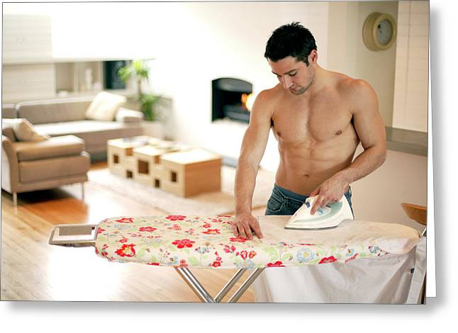 Man Ironing Greeting Card