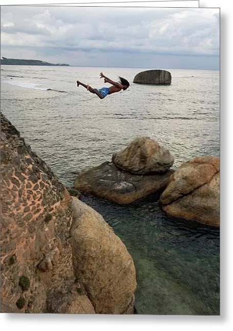 Man Jumping Off Flag Rock Bastion Greeting Card by Panoramic Images