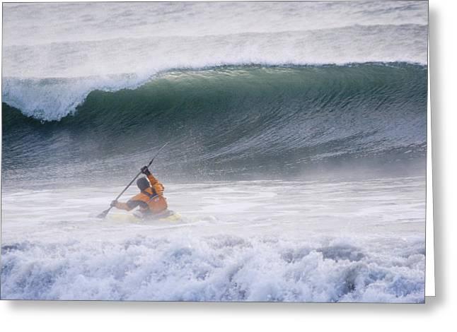 Man Kayak Surfing In Winter Surf Greeting Card