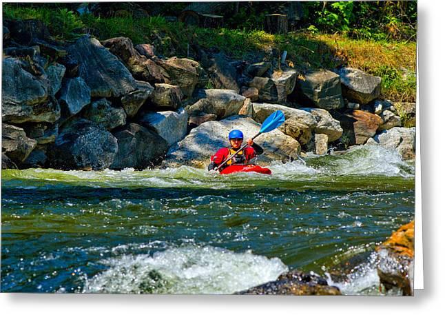 Man Kayaking In Rapid Water, Ontario Greeting Card by Panoramic Images
