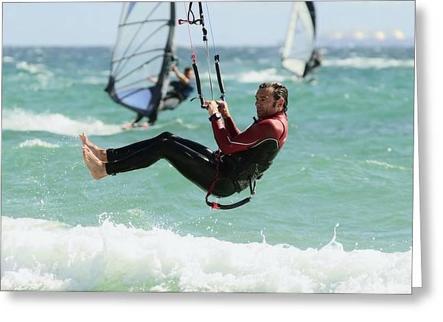 Man Kitesurfing Greeting Card