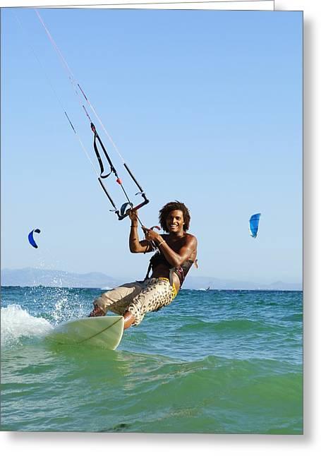 Man Kitesurfing Costa De La Greeting Card by Ben Welsh
