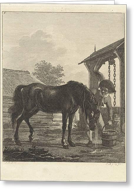 Man Lets A Horse Drink From A Bucket, Joannes Bemme Greeting Card by Joannes Bemme And Jan Anthonie Langendijk Dzn