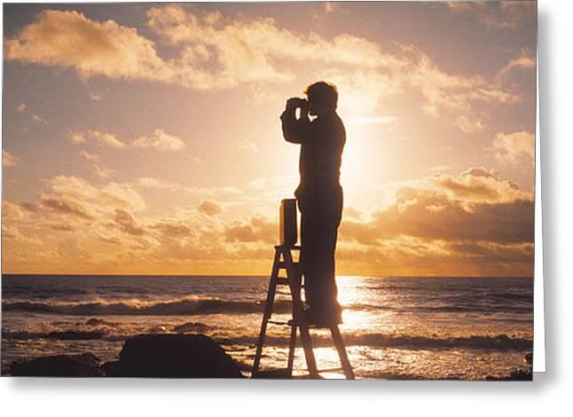 Man Looking Through Binoculars In Greeting Card
