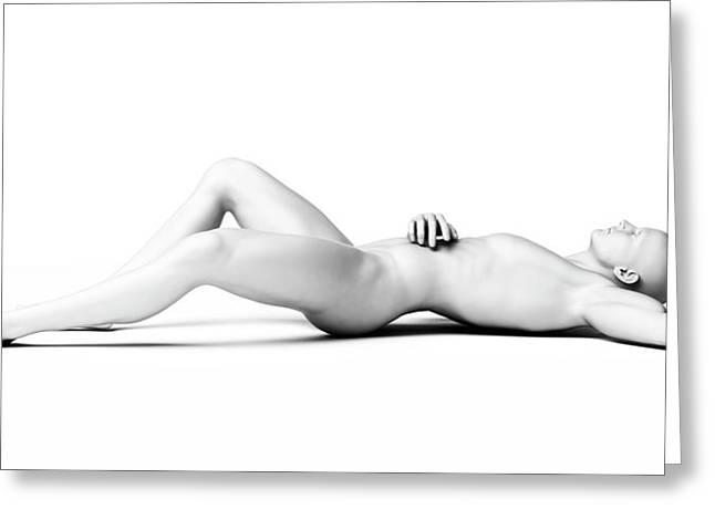 Man Lying Down Greeting Card by Sebastian Kaulitzki