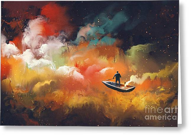 Man On A Boat In The Outer Space With Greeting Card