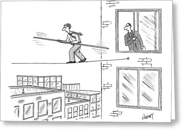 Man On A Tightrope Outside An Office Building Greeting Card
