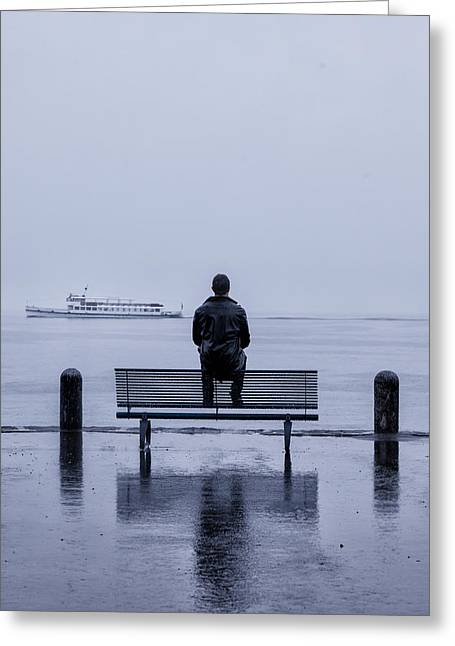 Man On Bench Greeting Card by Joana Kruse