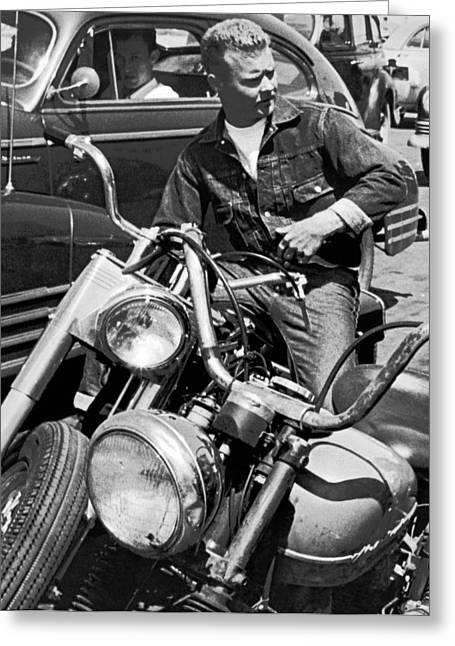 Man On His Motorcycle Greeting Card by Underwood Archives
