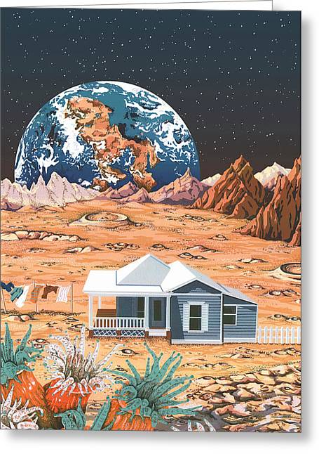 Man On The Moon Greeting Card by Anne Gifford