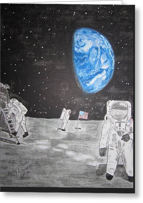Greeting Card featuring the painting Man On The Moon by Kathy Marrs Chandler