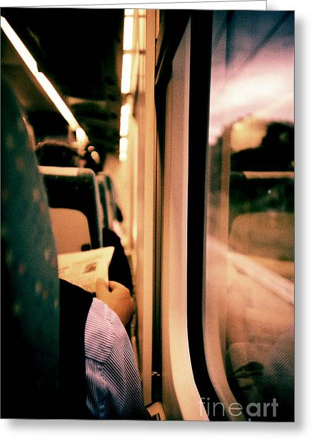 Man On Train - Lomo Lca Xpro Lomographic Analog 35mm Film Greeting Card by Edward Olive