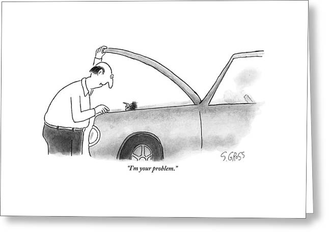 Man Opens The Hood Of His Car Greeting Card by Sam Gross