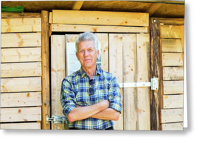 Man Outside Garden Shed Greeting Card