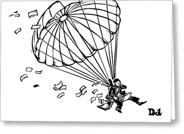 Man Parachuting While Working On His Laptop Greeting Card