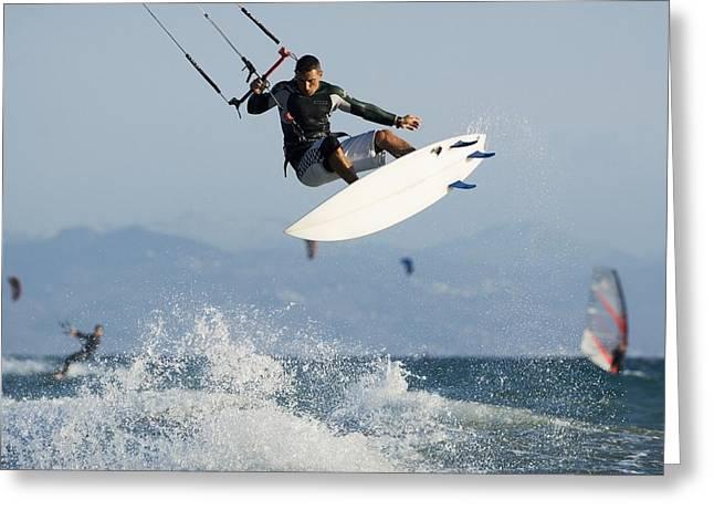 Man Parasurfing On Ocean Greeting Card by Ben Welsh
