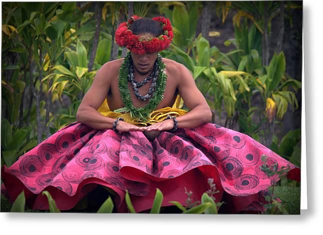 Man Performing Ancient Hula Greeting Card