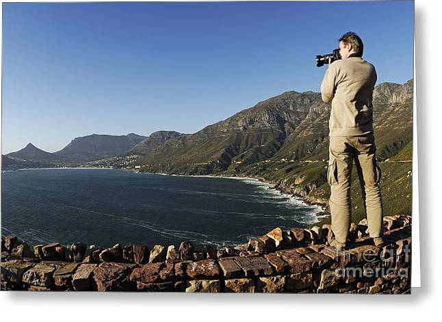 Man Photographing Hout Bay Greeting Card by Sami Sarkis