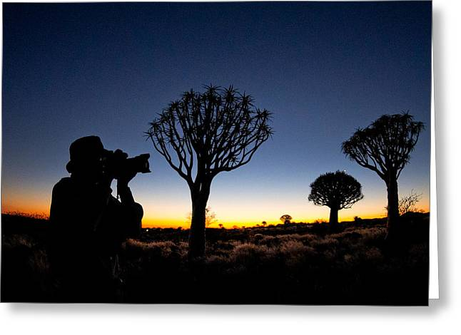 Man Photographing In Quiver Tree Forest Greeting Card by Panoramic Images