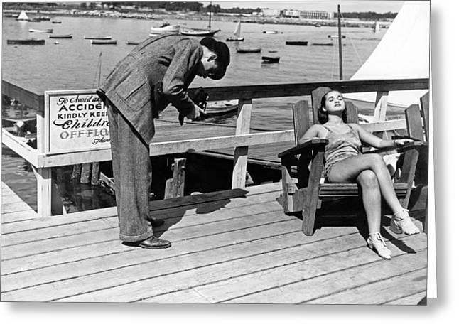 Man Photographs Sleeping Girl Greeting Card