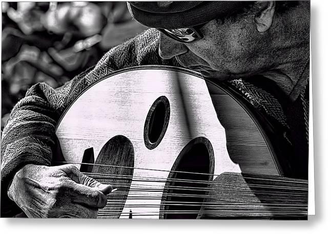 Man Playing Turkish Oud Greeting Card by Jay Droggitis