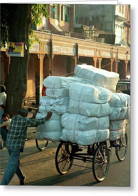 Man Pushing An Overloaded Cart, Jaipur Greeting Card by Inger Hogstrom