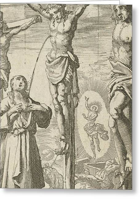 Man Receives Blood At Calvary Of The Crucified Christ Greeting Card