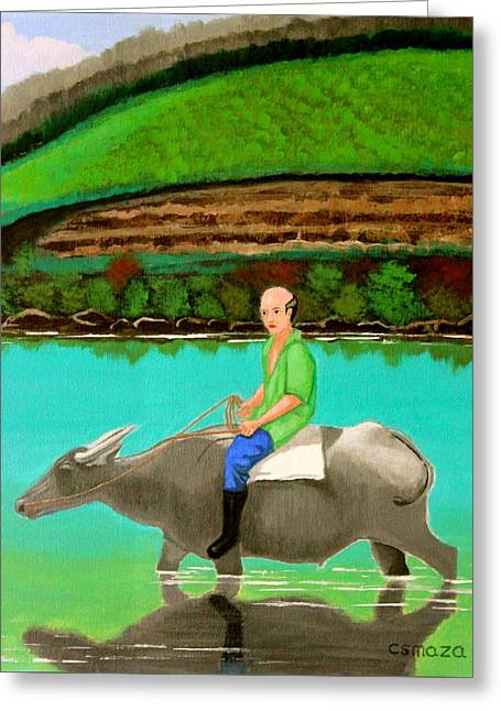 Greeting Card featuring the painting Man Riding A Carabao by Cyril Maza