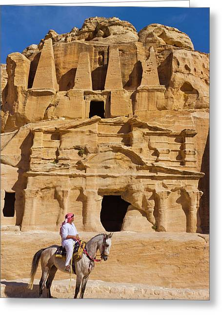 Man Riding On Horse With The Tomb Greeting Card