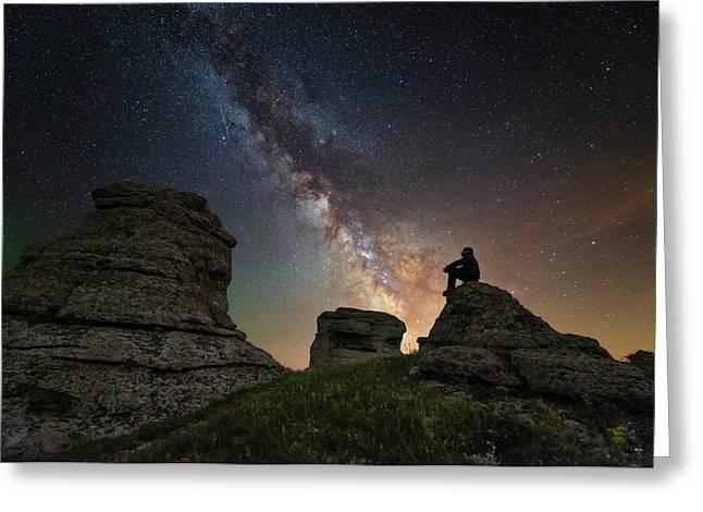 Man Sits On Top Of Demerdzhi Mountain Greeting Card