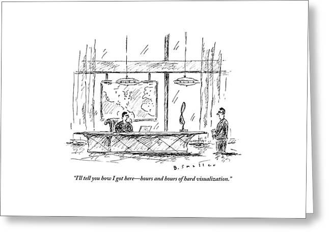 Man Sitting Behind Gigantic Desk Speaks Greeting Card by Barbara Smaller