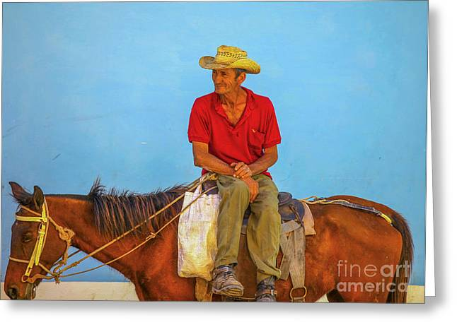 Man Sitting On A Horse  Greeting Card by Patricia Hofmeester