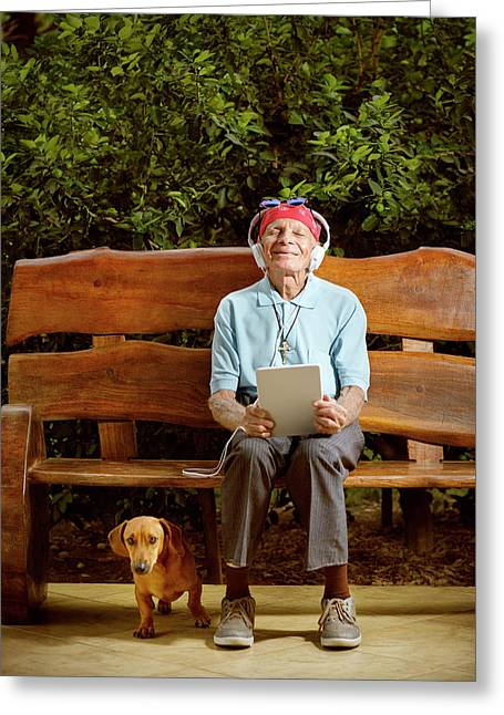 Man Sitting On Bench With Dog Greeting Card by Ktsdesign