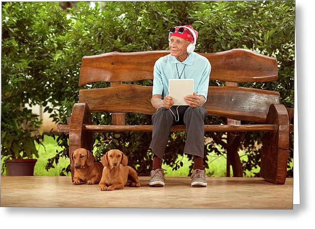 Man Sitting On Bench With Dogs Greeting Card by Ktsdesign