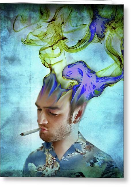 Man Smoking Cigarette With Smoke Coming Greeting Card