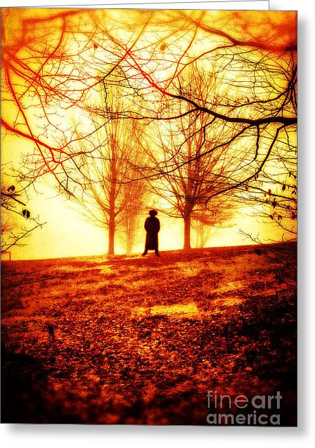 Man Standing In Front Of A Blazing Forest Fire Greeting Card by Edward Fielding