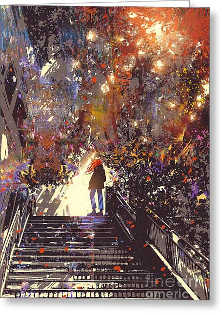 Man Standing On The Top Of Stair In The Greeting Card by Tithi Luadthong