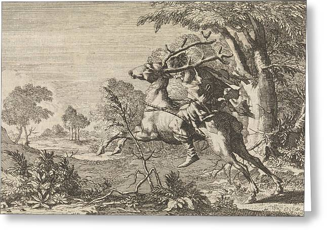 Man Strapped On The Back Of A Deer Sent Into The Wilderness Greeting Card by Caspar Luyken And Pieter Van Der Aa I