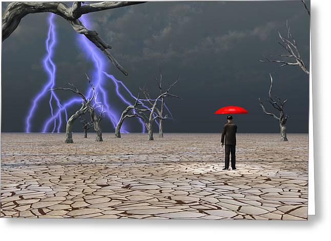 Greeting Card featuring the digital art Man Takes In Storm Under Umbrella by Bruce Rolff