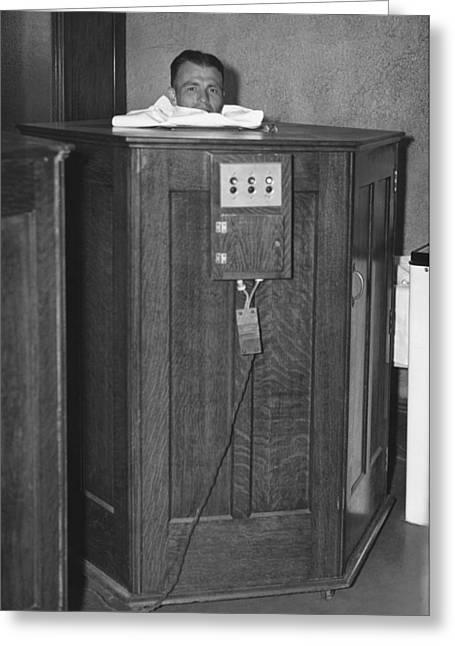 Man Taking A Sauna Greeting Card