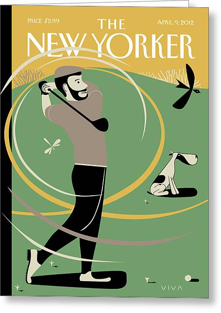 Man Taking A Shot On The Golf Course. A Whiff Greeting Card