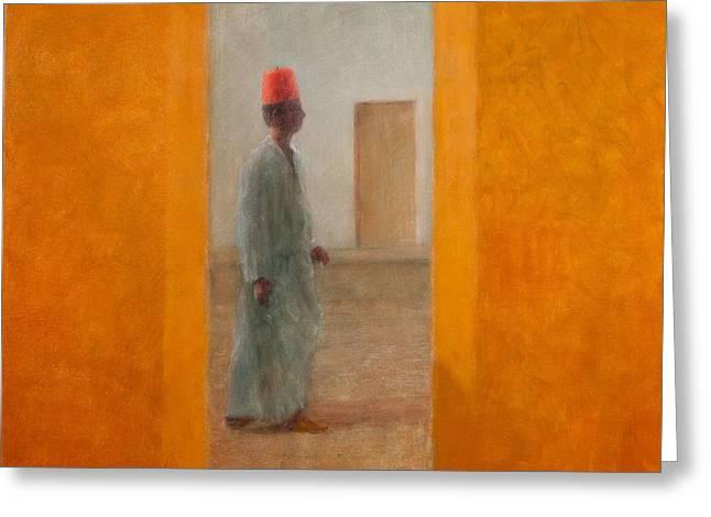 Man, Tangier Street, 2012 Acrylic On Canvas Greeting Card