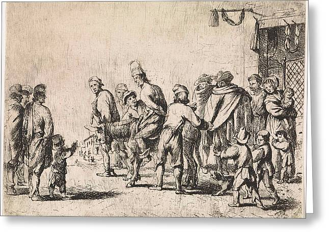 Man Tied Up On A Donkey, Print Maker Cornelis De Wael Greeting Card