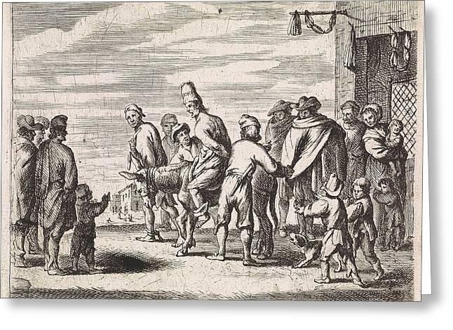 Man Tied Up On Donkey, Cornelis De Wael Greeting Card